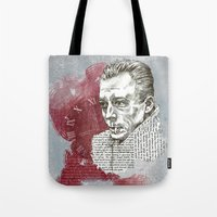 camus Tote Bags featuring Camus - The Stranger by Nina Palumbo Illustration