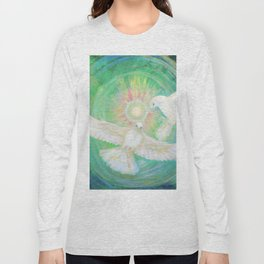 Doves, healing, green energy Long Sleeve T-shirt