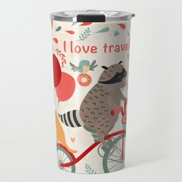 Cute raccoon on a bicycle with a cat, birds, balloons and drops. 'i love travel' text. Trip, journey Travel Mug
