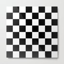 Lowest Price On Site - Checkerboard Black and White Squares Metal Print
