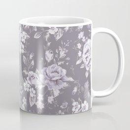 VINTAGE FLORAL MAUVE ROSES PATTERN DARK Coffee Mug