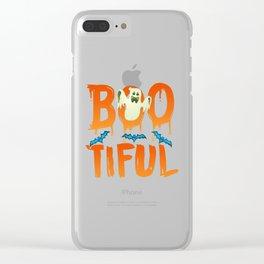 Cute Boo-tiful Ghost Bootiful Halloween Clear iPhone Case