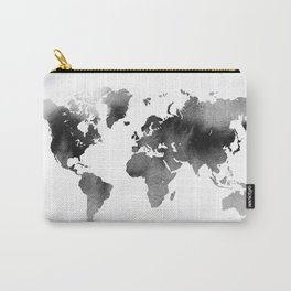 Black Ink World Map Carry-All Pouch