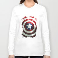 steve rogers Long Sleeve T-shirts featuring Captain Steve Rogers Shields  by neutrone