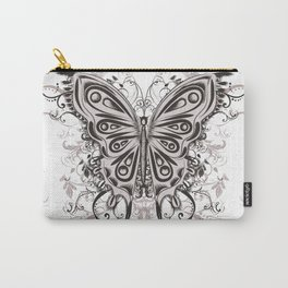 Beautiful filigree butterfly with flowers Carry-All Pouch