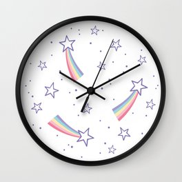 Rainbow stars pattern Wall Clock