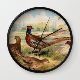 Vintage Pheasants Wall Clock