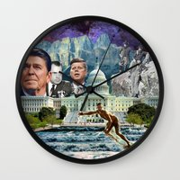 usa Wall Clocks featuring USA by TRASH RIOT