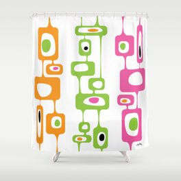 Googie Towers in orange, lime green, and pink Shower Curtain