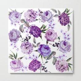Elegant Girly Violet Lilac Purple Flowers Metal Print