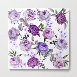 Elegant Girly Violet Lilac Purple Flowers Metal Print