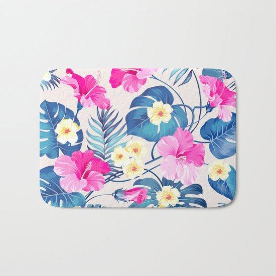 Tropical Pattern - Blue & Pink version Bath Mat