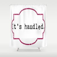 scandal Shower Curtains featuring It's Handled - Television Pink Glitter by Eyne Photography