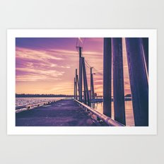 Water Sunset at the Dock Art Print