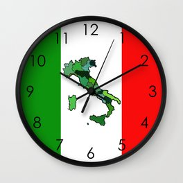 Map of Italy and Italian Flag Wall Clock