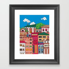 Doodle town and sky with clouds.  Framed Art Print