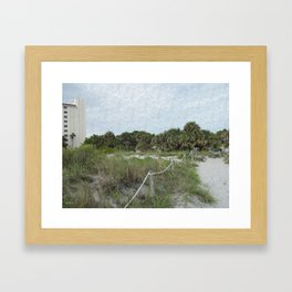 Siesta Keys Beach Trail in Blue Spruce Texture Framed Art Print
