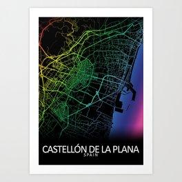 Castellón de la Plana, Spain, City, Map, Rainbow, Map, Art, Print Art Print