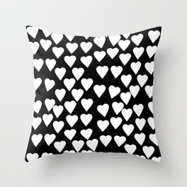 Hearts White on Black Throw Pillow