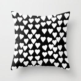 Hearts White on Black Throw Pillow