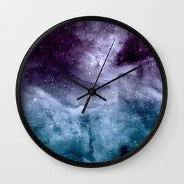Watercolor and nebula abstract design Wall Clock