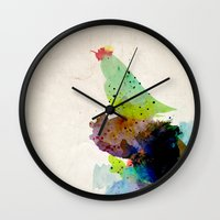 shipping Wall Clocks featuring Bird standing on a tree by contemporary