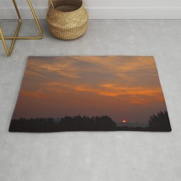 Red Rising Sun Rug
