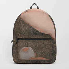 Old Male resting. Backpack