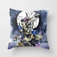nightmare before christmas Throw Pillows featuring The nightmare before christmas by Sandra Ink