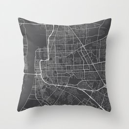 Baton Rouge Map, USA - Gray Throw Pillow