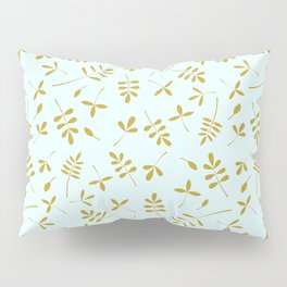 Gold Leaves Design on Light Blue Pillow Sham