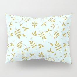 Gold Leaves Design on Light Blue Pillow Sham