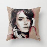 sarah paulson Throw Pillows featuring Sarah by marziiporn