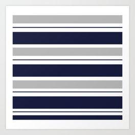 Navy Blue and Grey Stripe Art Print