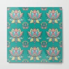 Lotus Mandala Doodle Green Pattern Metal Print