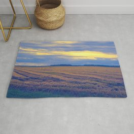 cultivated field in autumn season Rug