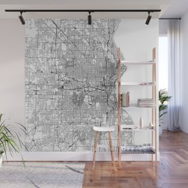 Milwaukee White Map Wall Mural