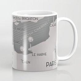 English Channel map (mono) Coffee Mug