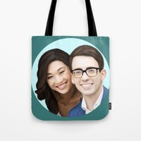 jenna kutcher Tote Bags featuring Jenna Ushkowitz and Kevin Mchale by weepingwillow