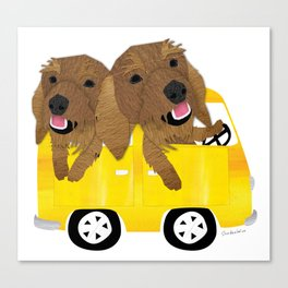 Dogs in a Bus on Vacation Canvas Print