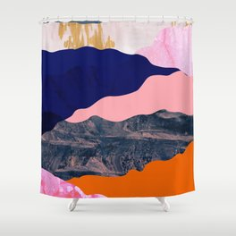 Graphic volcanic mountains Shower Curtain
