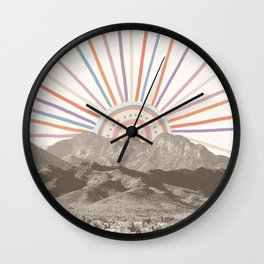 Bohemian Tribal Sun / Abstract Vintage Mountain Happy Summer Vibes Retro Colorful Pastel Sky Artwork Wall Clock