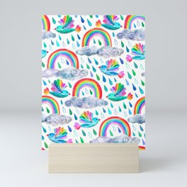 Spring Showers and Rainbow Birds on White Mini Art Print