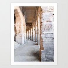 Roman Amphitheatre Arches in Arles. Art Print