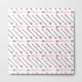Bohemian pastel pink gray floral arrows pattern Metal Print