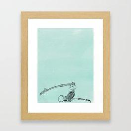 skeleton in halasana Framed Art Print