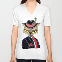 gangster V-neck T-shirts featuring Gangster Kitty by J&C Creations