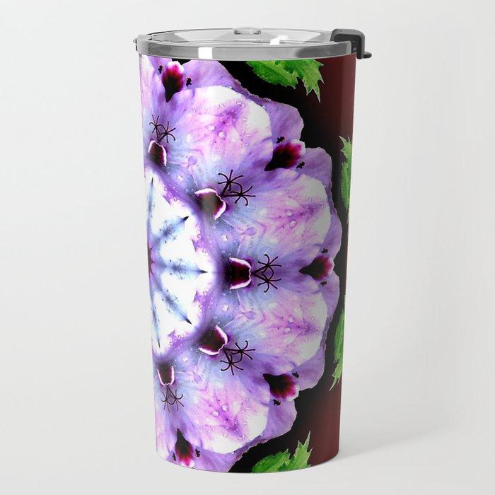 Purple White Flower on Burgundy Travel Mug