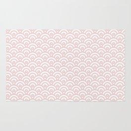 Elegant chic blush pink white scallop wave pattern Rug