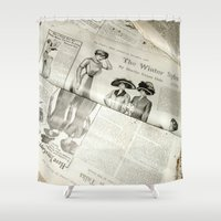 newspaper Shower Curtains featuring Old Vintage Newspaper Left to the Elements...Winter Styles by Andrea Jean Clausen - andreajeanco